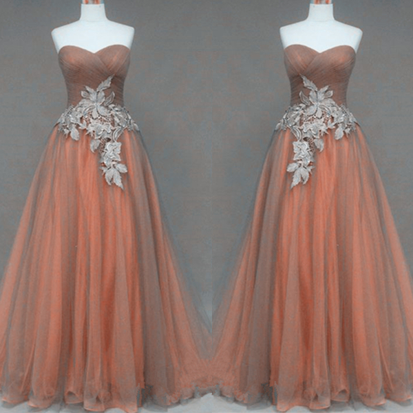 Silver Lace Appliques Orange Ball Gown Sweetheart Neckline Full ...