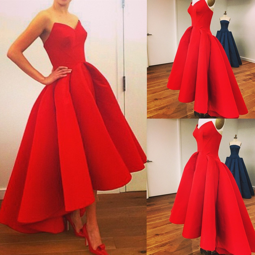 Red Asymmetrical Ball Gown Sweethear Neckline Hi-lo Prom Dress ...