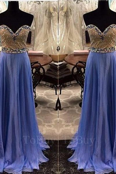 Popular Beaded Bodice Sweethear Neckline Sweep Train Prom Dress Long Formal Dress
