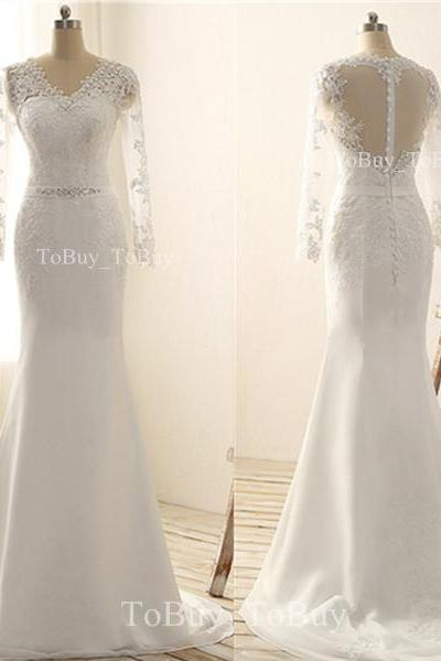 Alluring V-neck White Lace Appliques Long Sleeves Sweep Train Wedding Dress Prom Dress with Zipper Back